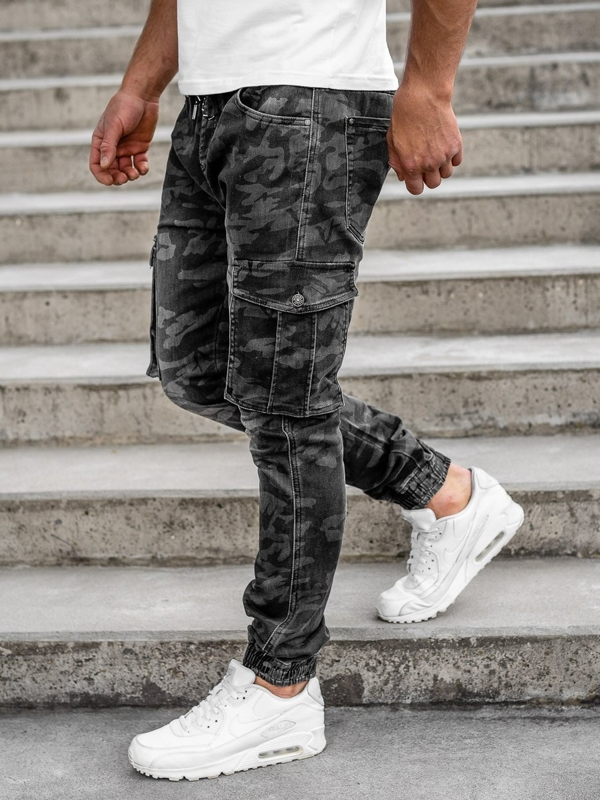 Czarne spodnie joggery bojówki moro męskie Denley RB9491DT