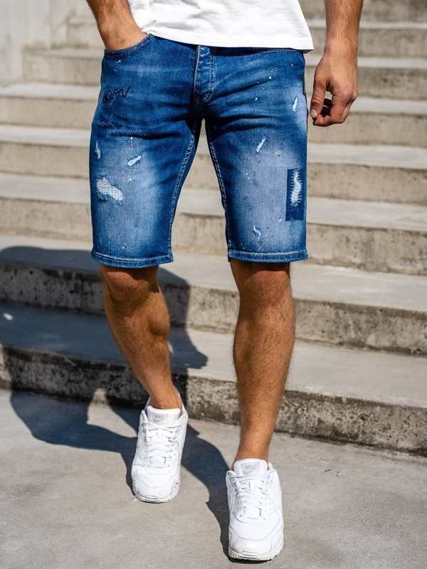 Granatowe jeansowe krótkie spodenki męskie Denley 3007