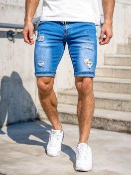 Granatowe jeansowe krótkie spodenki męskie Denley KG3809
