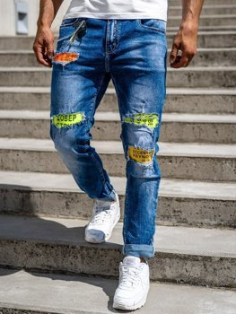 Granatowe jeansowe spodnie męskie slim fit Denley 85002S0