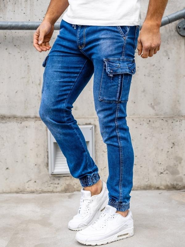 Granatowe spodnie jeansowe joggery męskie Denley KA1311-1