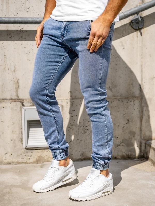 Granatowe spodnie jeansowe joggery męskie Denley KA1637