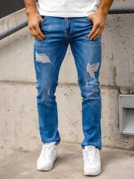Granatowe spodnie jeansowe męskie regular fit Denley KA1700