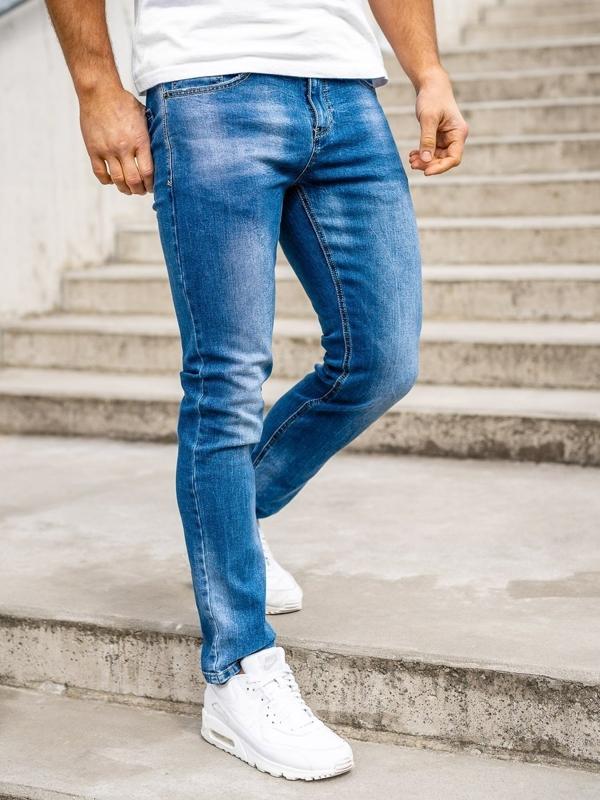 Granatowe spodnie jeansowe męskie regular fit z paskiem Denley KA1723