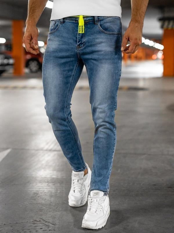 Granatowe spodnie jeansowe męskie skinny fit Denley KX555