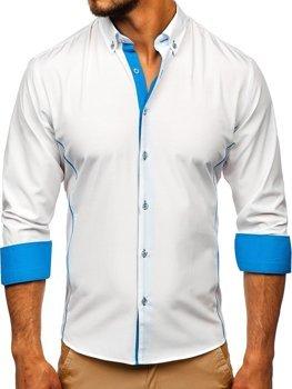 Koszula męska elegancka z długim rękawem biało-błękitna Bolf 5722-1-A