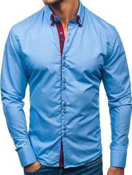 Koszula męska elegancka z długim rękawem błękitna Bolf 2785