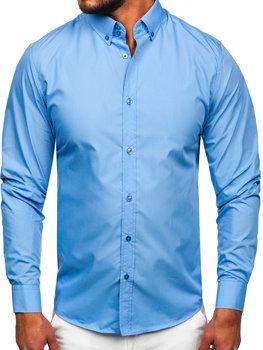 Koszula męska elegancka z długim rękawem błękitna Bolf 5821-1