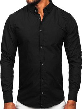 Koszula męska elegancka z długim rękawem czarna Bolf 5821-1