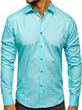 Koszula męska elegancka z długim rękawem jasnozielona Bolf 1703-2