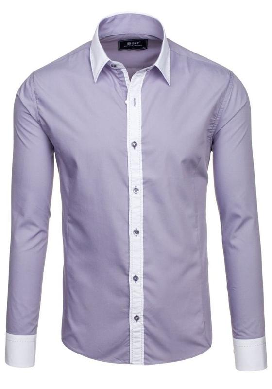 Koszula męska elegancka z długim rękawem szara Bolf 6882
