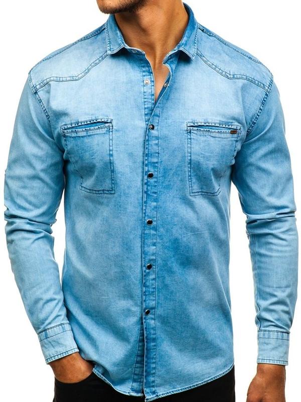 Koszula męska jeansowa z długim rękawem niebieska Denley 2643