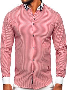 Koszula męska maklerka z długim rękawem bordowa Bolf 0909