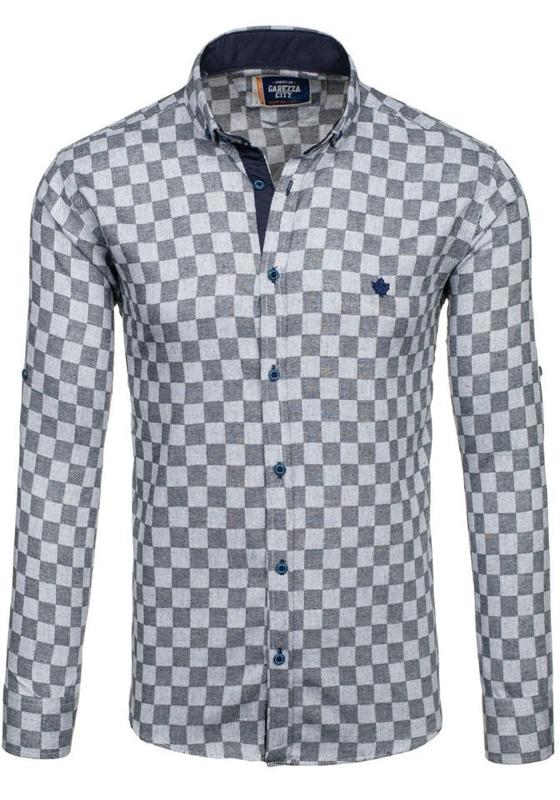 Koszula męska w kratę z długim rękawem czarna Denley 01