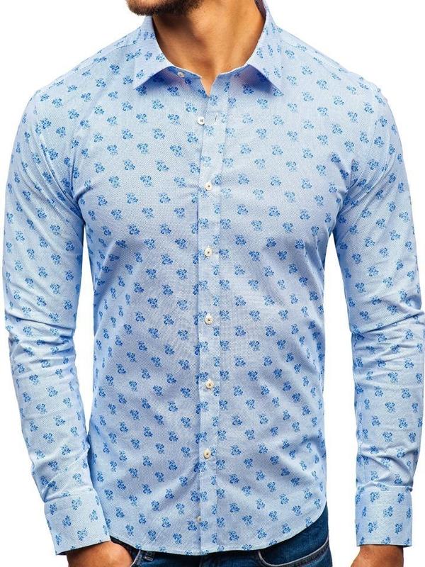 Koszula męska we wzory z długim rękawem biało-niebieska 300G36