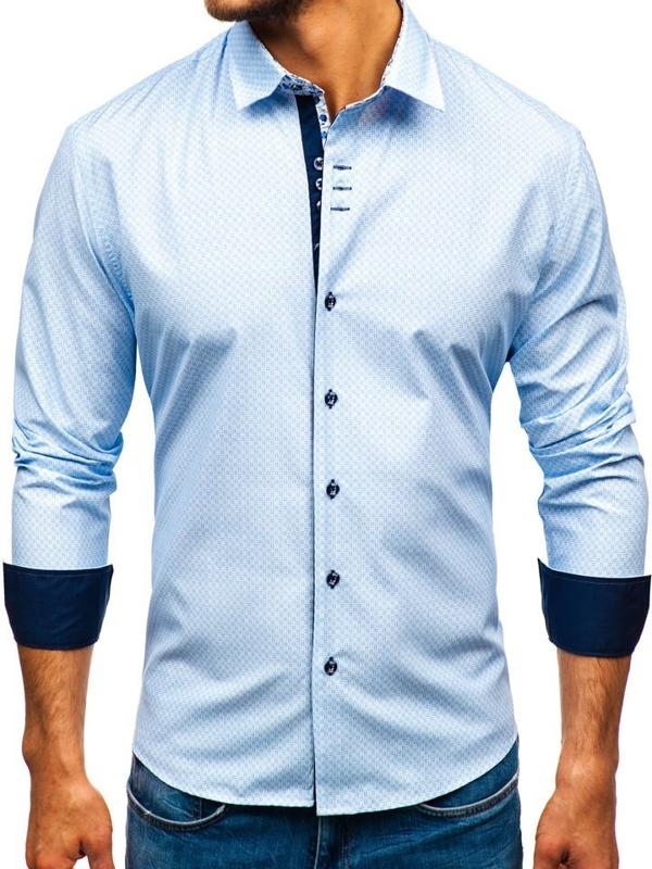 Koszula męska we wzory z długim rękawem biało-niebieski Bolf 9703