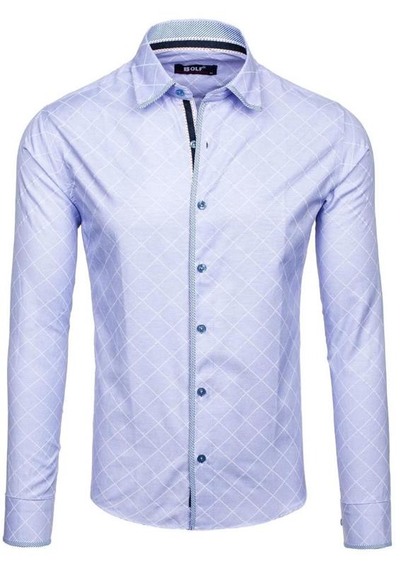 Koszula męska we wzory z długim rękawem błękitna Bolf 1692