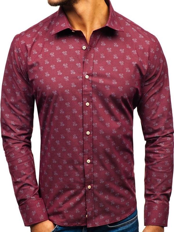 Koszula męska we wzory z długim rękawem bordowa 300G43