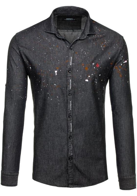 Koszula męska we wzory z długim rękawem czarna Denley 1589