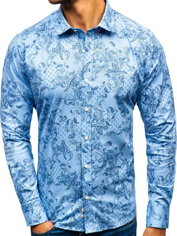 Koszula męska we wzory z długim rękawem jasnoniebieska 301G74