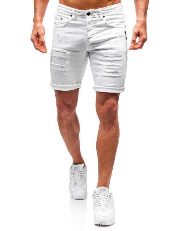 Krótkie spodenki jeansowe męskie białe Denley 3030