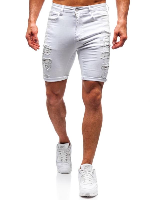 Krótkie spodenki jeansowe męskie białe Denley T392