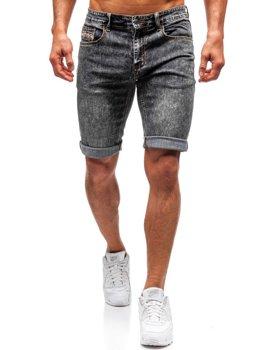 Krótkie spodenki jeansowe męskie czarne Denley 7796