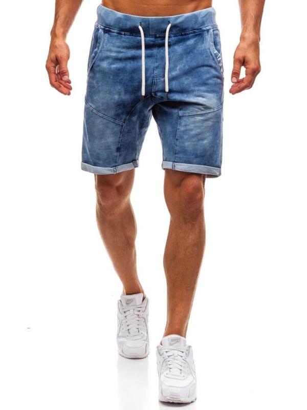 Krótkie spodenki jeansowe męskie granatowe Denley EX01