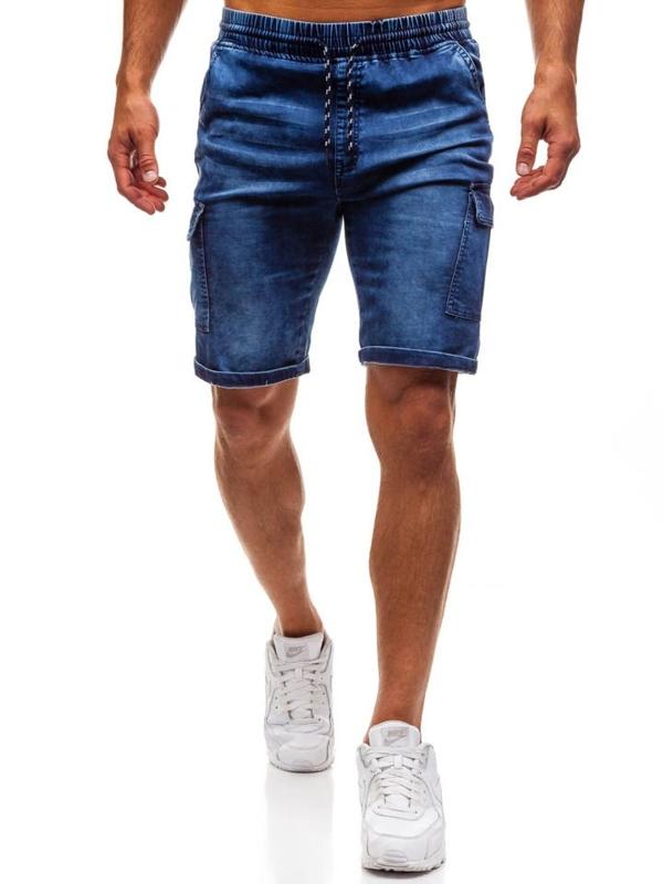 Krótkie spodenki jeansowe męskie granatowe Denley HY191