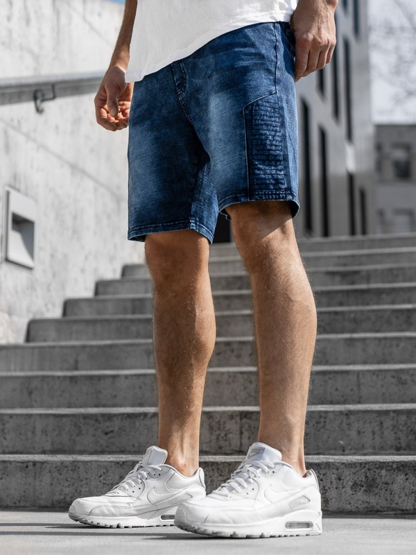 Krótkie spodenki jeansowe męskie granatowe Denley KK110