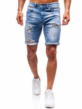Krótkie spodenki jeansowe męskie niebieskie Denley 3962
