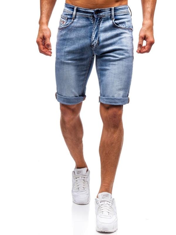 Krótkie spodenki jeansowe męskie niebieskie Denley 7759