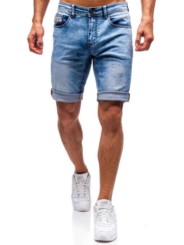 Krótkie spodenki jeansowe męskie niebieskie Denley 7805