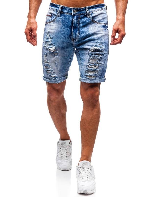 Krótkie spodenki jeansowe męskie niebieskie Denley T567