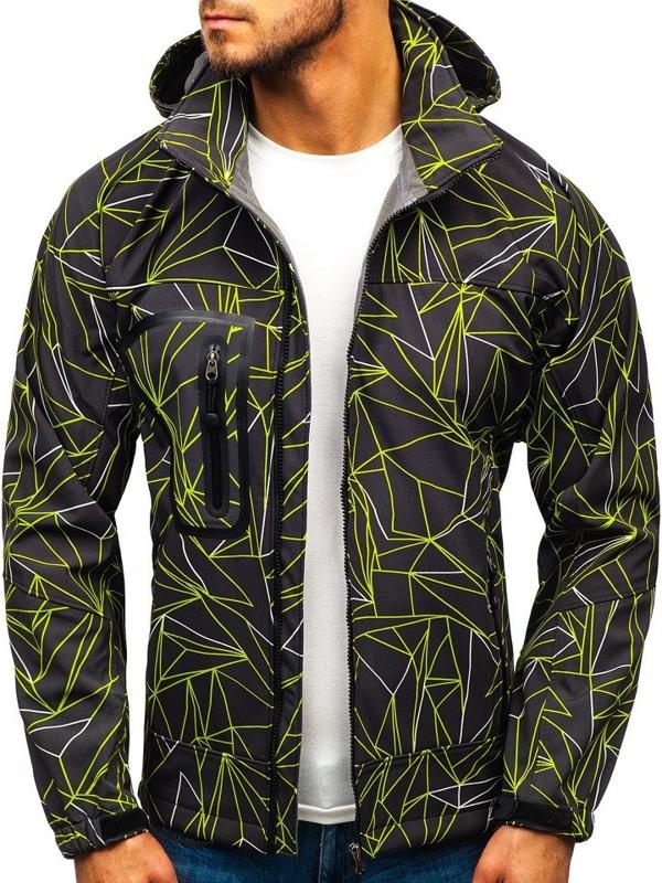 Kurtka męska softshell czarno-zielona Denley T019T