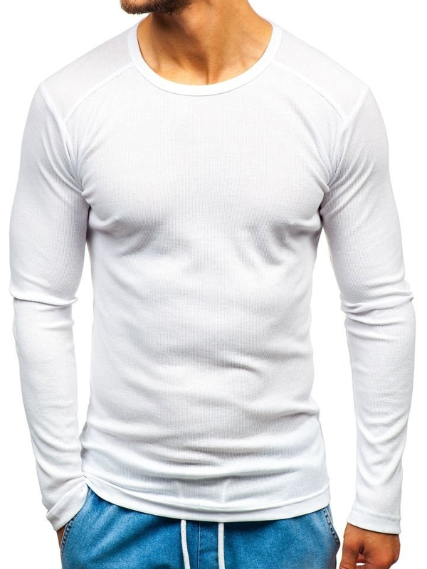Longsleeve męski bez nadruku biały Denley C10038