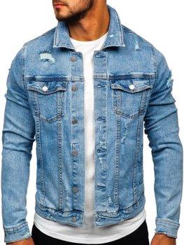 Niebieska jeansowa kurtka męska Denley AK581
