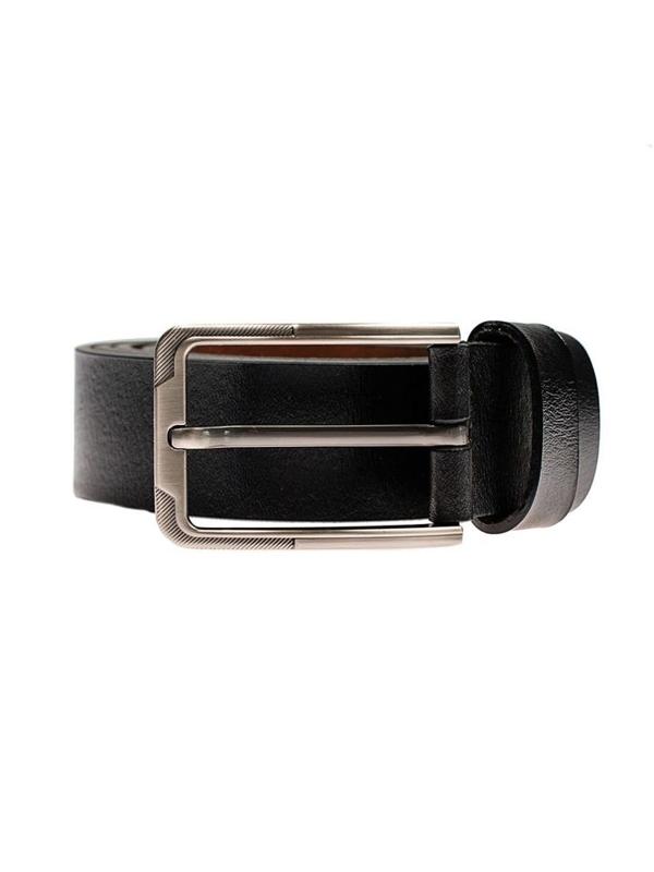 Pasek skórzany męski czarny Denley P002