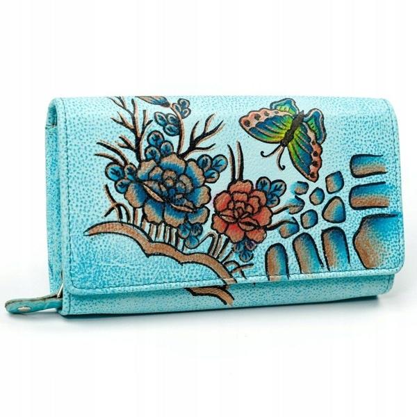 Portfel damski skórzany niebieski 3090