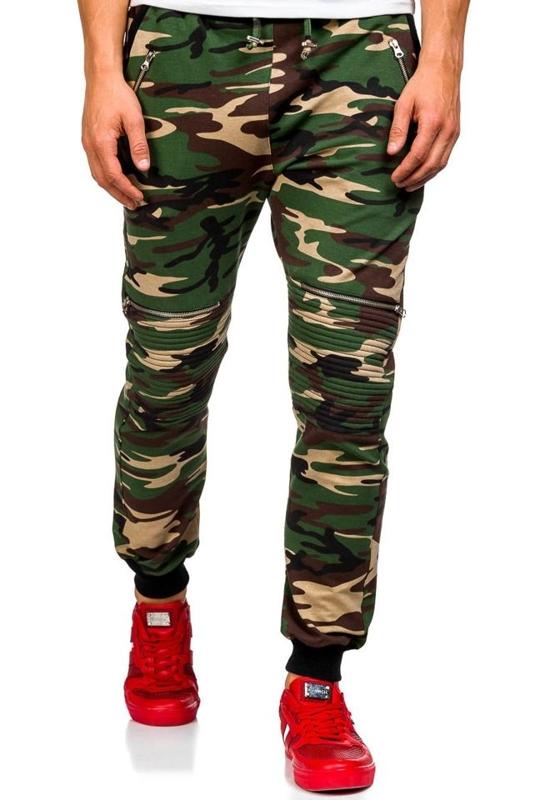 Spodnie dresowe joggery męskie moro-khaki Denley 0724