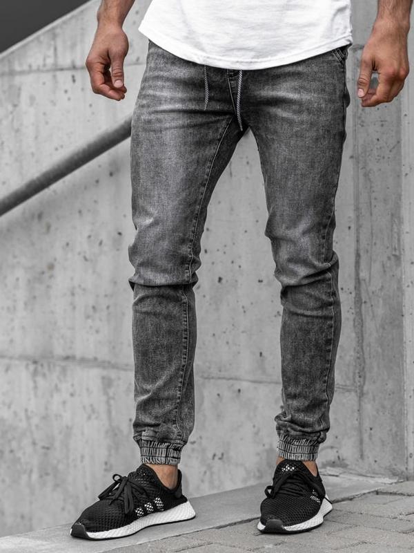 Spodnie jeansowe joggery męskie czarne Denley KA1208