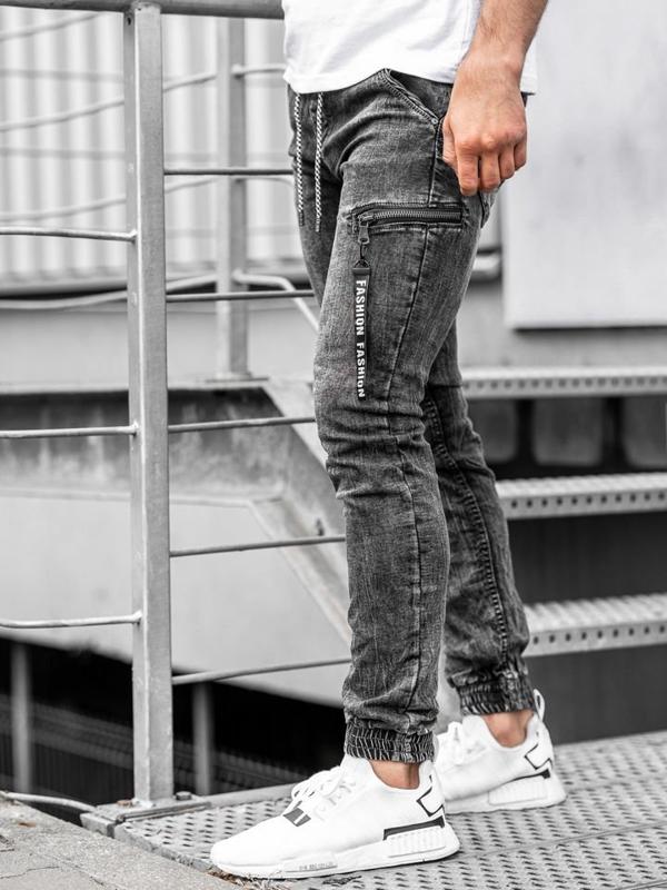 Spodnie jeansowe joggery męskie czarne Denley  KA689-2