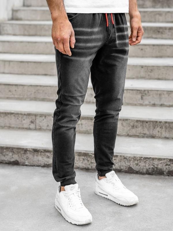 Spodnie jeansowe joggery męskie czarne Denley KK1101
