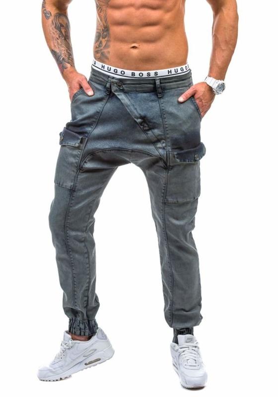 Spodnie jeansowe joggery męskie grafitowe Denley 191