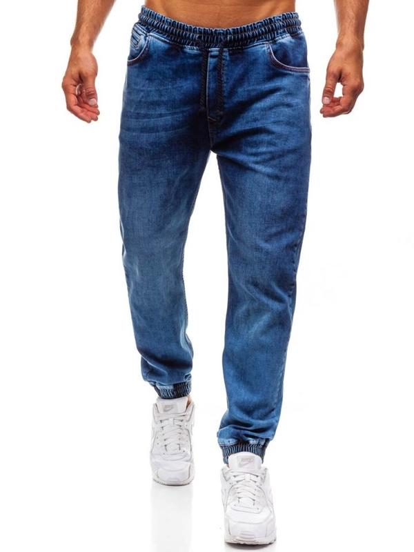 Spodnie jeansowe joggery męskie granatowe Denley 622