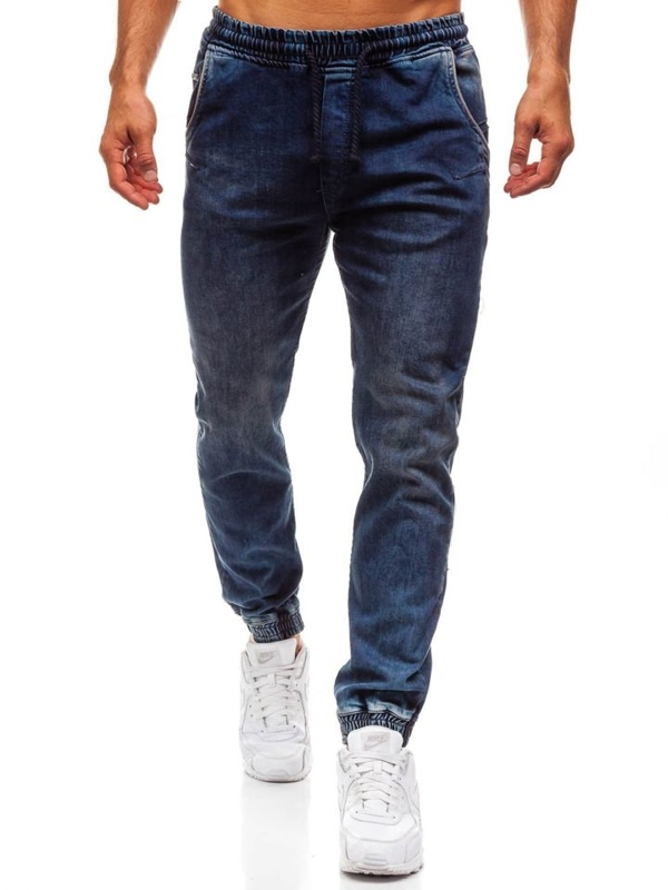 Spodnie jeansowe joggery męskie granatowe Denley 708