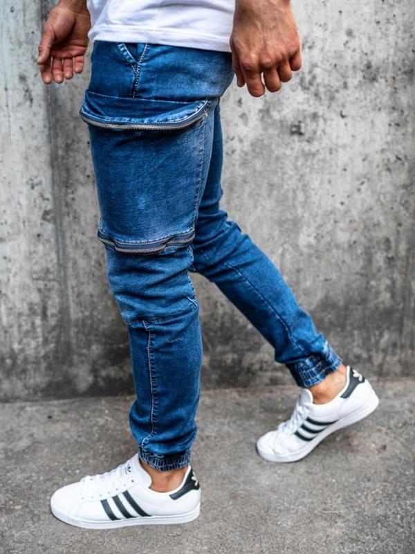 Spodnie jeansowe joggery męskie granatowe Denley KA365