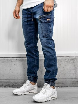 Spodnie jeansowe joggery męskie granatowe Denley  KA687-1