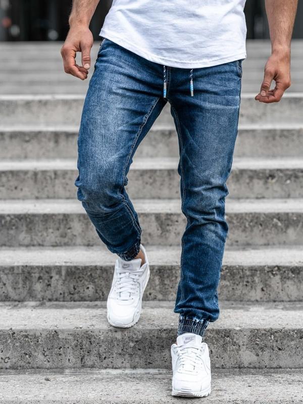 Spodnie jeansowe joggery męskie granatowe Denley KA730