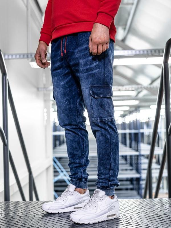 Spodnie jeansowe joggery męskie granatowe Denley KK1033